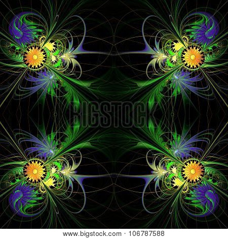 Flower Background In Fractal Design. Blue And Orange Palette. On Black. Computer Generated Graphics.