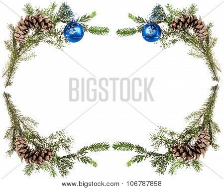 Spruce Twigs With Cones And Blue Balls On White
