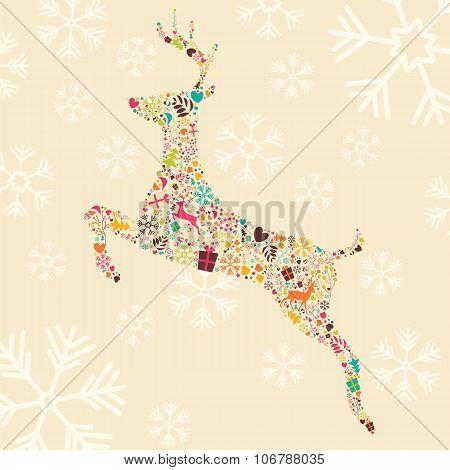 Ornamental Christmas Reindeer With Snowflakes