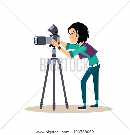 Girl Photographer with Tripod in Flat Style. Vector Illustration