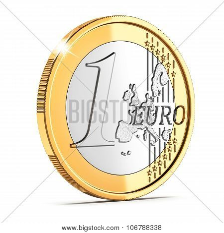 One Euro Coin Cent Isolated