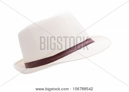 white straw hat isolated on white background