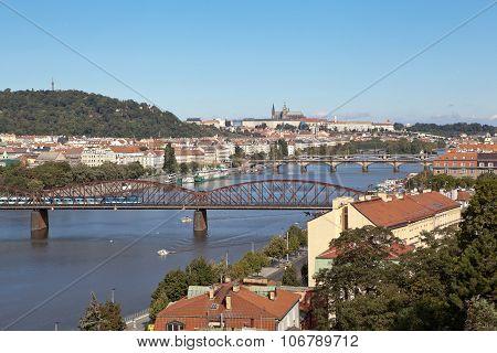PRAGUE, CZECH REPUBLIC-SEPTEMBER 05, 2015: Photo of View of Prague from the observation deck.
