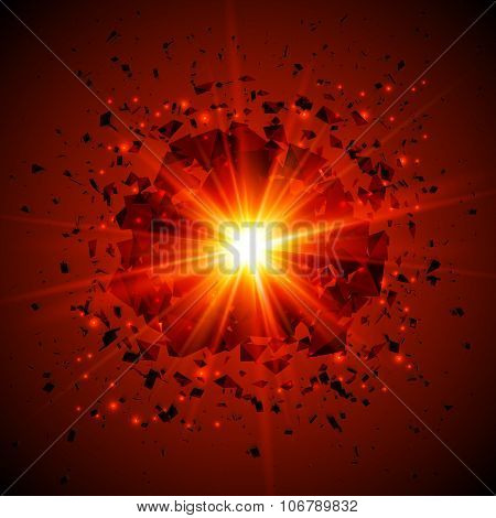 Red flaming vector meteor cosmic explosion
