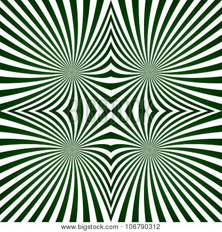 Green striped symmetric ray pattern