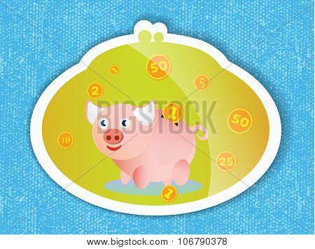 Piggy Bank With Coins And A Pink Piglet On Blue Background