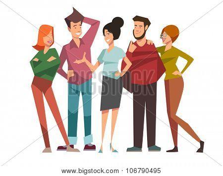 Group of five happy talking friends