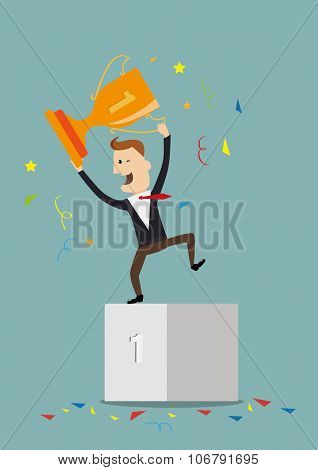 Vector illustration of businessman proudly standing on the winning podium holding up winning trophy.