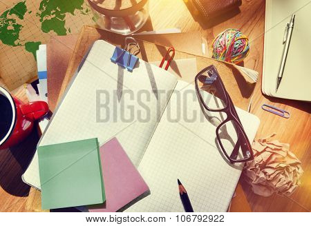 Designer's Desk with Architectural Tools Notebook Concept