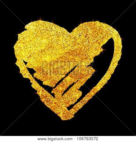 Golden glitter grunge heart isolated on black background