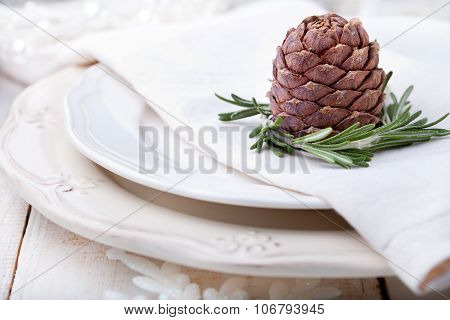 Christmas and New Year dinner place setting with decoration napkin