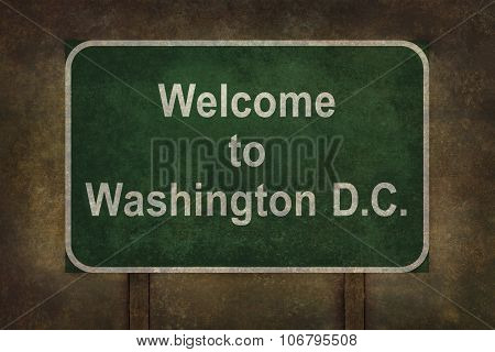 Welcome To Washington D.C. Roadside Sign Illustration
