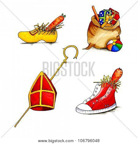 Typical Dutch culture with Sinterklaas objects isolated over white background