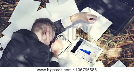 Businessman Sleeping Stress Deadline Working Tired Concept
