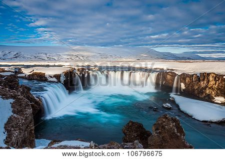 Beautiful Godafoss Fall In Early Spring, Iceland