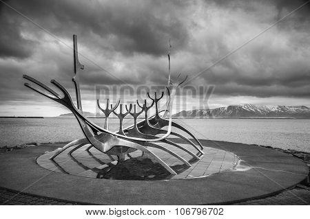 Reykjavik, Iceland - April 03:  Solfar Sculpture (sun Voyager) In Reykjavik, Iceland In Black And Wh
