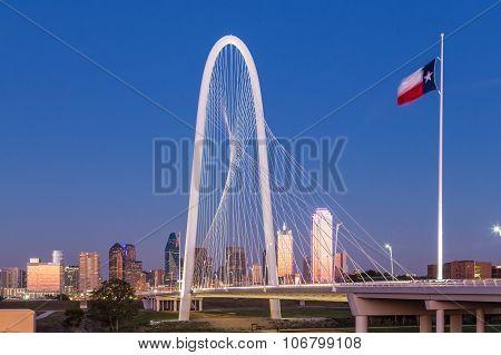 Dallas Downtown Skyline With Margaret Hut Hills Bridge At Night