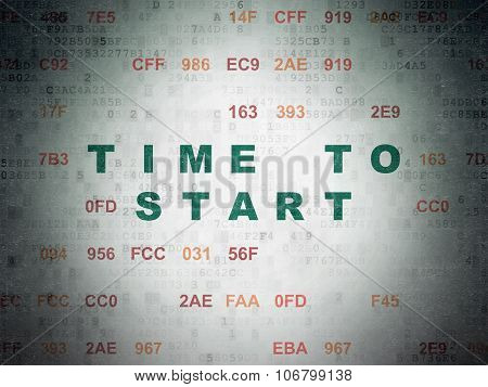 Time concept: Time to Start on Digital Paper background
