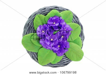 Wicker basket Handmade Decorated With Artificial Flowers