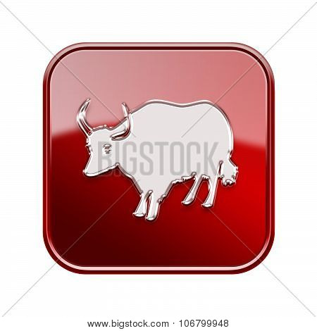Ox Zodiac Icon Red, Isolated On White Background.