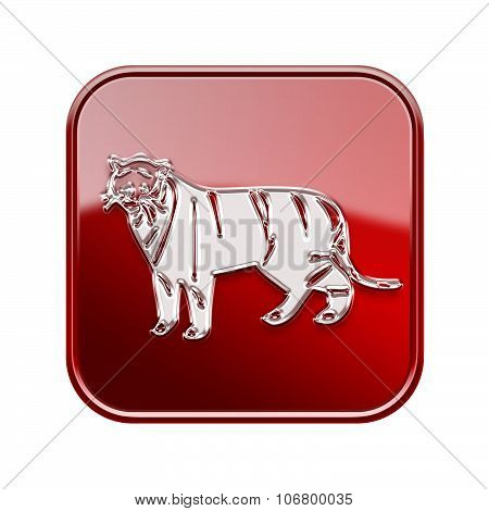 Tiger Zodiac Icon Red, Isolated On White Background.