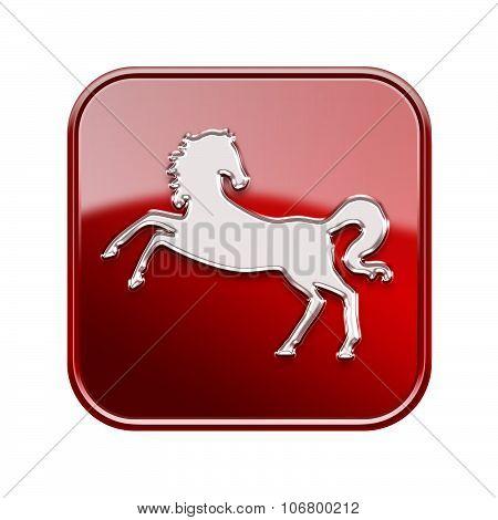 Horse Zodiac Icon Red, Isolated On White Background.