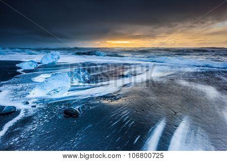Sunrise At Jokulsarlon, Iceland.