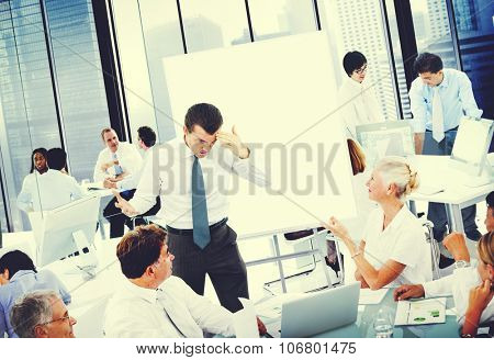 Leader Stressed Out Meeting Group People Concept