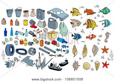 Different kinds of garbage in oceans, sea. Destruction of coral reefs, death of tropic fishes. Isolated on white