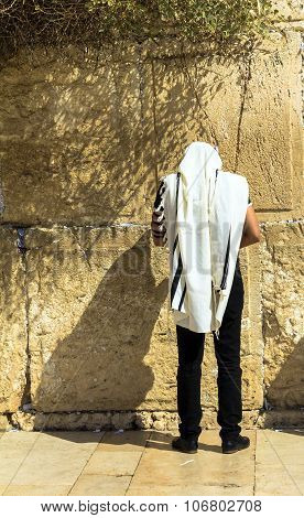 Unidentified Jewish Worshiper In  Tallith And Tefillin Praying At The Wailing Wall An Important Jewi