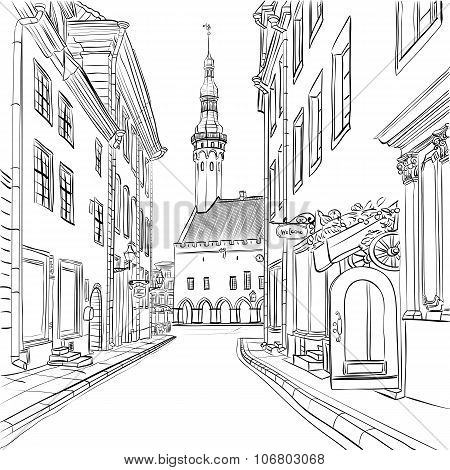 Vector Medieval Old Town, Tallinn, Estonia