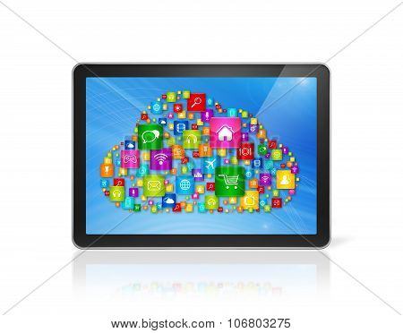 Digital Tablet Pc And Cloud Computing Symbol