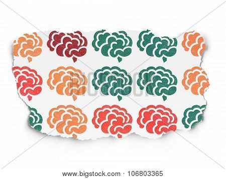 Medicine concept: Brain icons on Torn Paper background