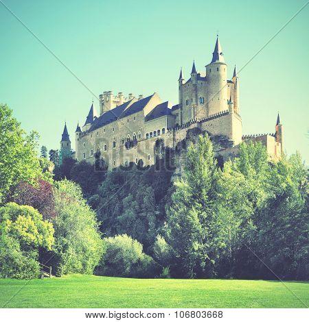 Castle of Segovia (Alcazar), Spain. Instagram style filtered image