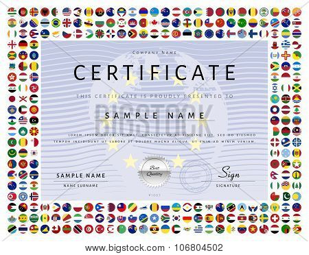 Certificate Template With World Flags Icons As Border In Vector