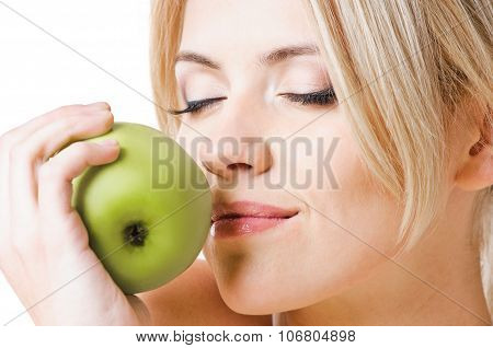 healthy girl and apple
