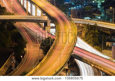 City interchange overpass highway at night