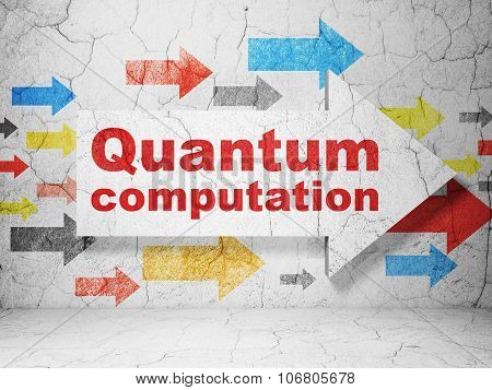 Science concept: arrow with Quantum Computation on grunge wall background