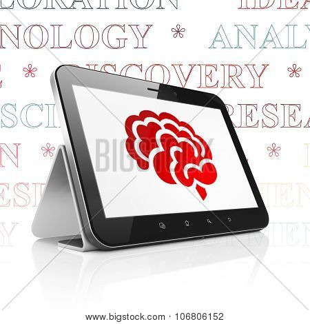 Science concept: Tablet Computer with Brain on display