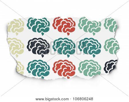 Science concept: Brain icons on Torn Paper background