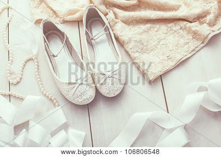 Flower girl silver glitter shoes closeup