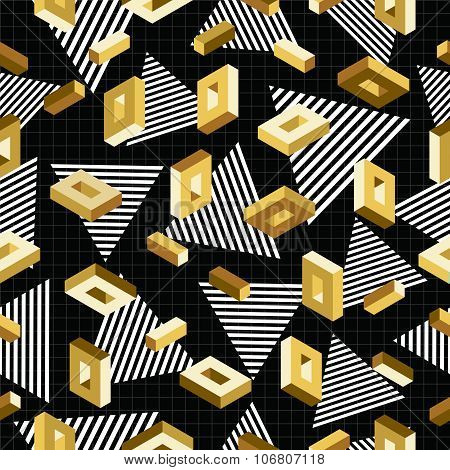 Gold Seamless Pattern Retro 80S 3D Background