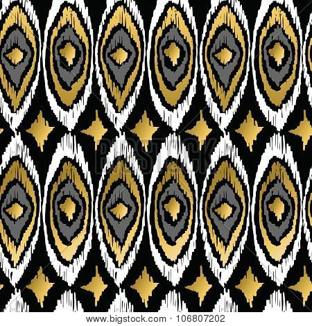 Gold Peacock Retro Tribal Boho Pattern Background