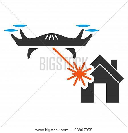 Laser Drone Attacks House Icon