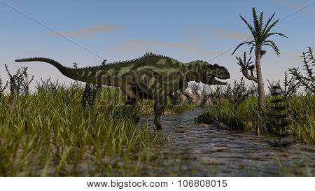 yangchuanosaurus hunting in swamp