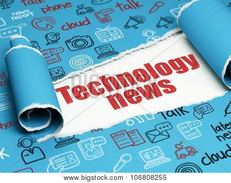News concept: red text Technology News under the piece of  torn paper