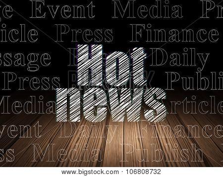 News concept: Hot News in grunge dark room