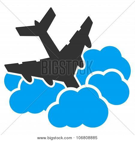 Aircraft Falls Into Clouds Icon