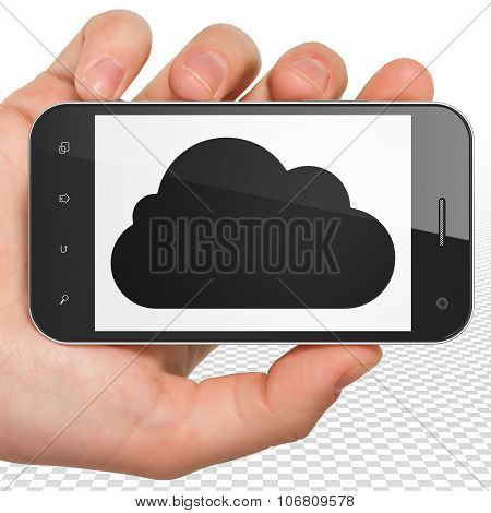 Cloud computing concept: Hand Holding Smartphone with Cloud on display