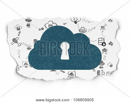 Cloud computing concept: Cloud With Keyhole on Torn Paper background